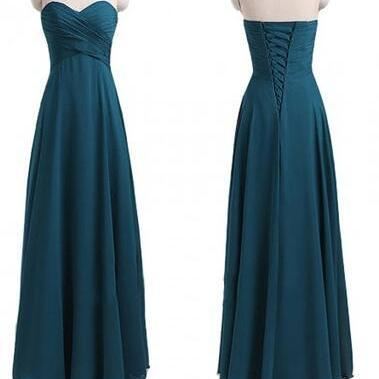 Blue Chiffon Ruched Sweetheart Neck..