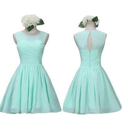 High Neck Bridesmaid Dress,Mint Chi..