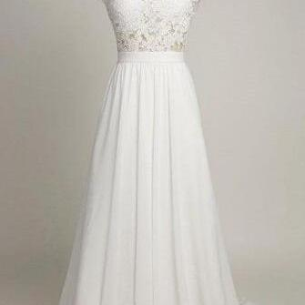 White Lace Wedding Dress,Long Prom ..