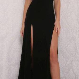 Open Back Prom Dress with Side Slit..