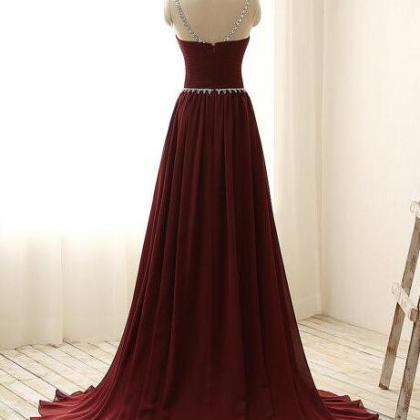 Burgundy Prom Dress , Red Prom Dres..