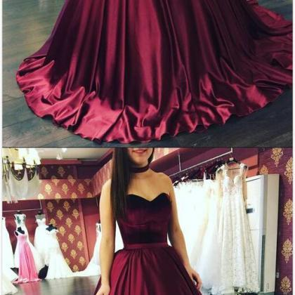 Sweetheart Prom Dress,Burgundy Prom..