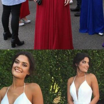 Simple Prom Dress, V neck prom Dres..