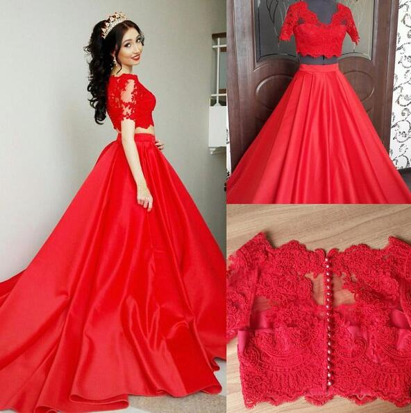 Two Pieces Quinceanera Dresseslong Sleeves Prom Dresscheap Red