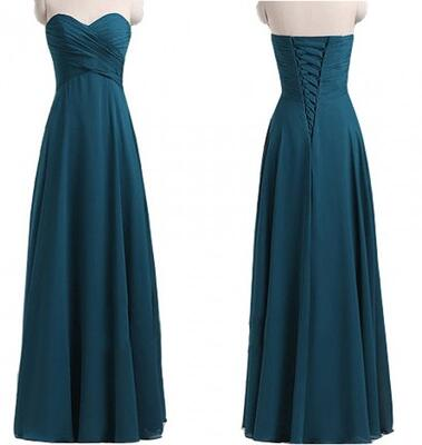 Blue Chiffon Ruched Sweetheart Neckline Bridesmaid Dress with Lace- Up Detailing