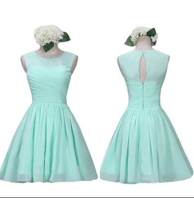 High Neck Bridesmaid Dress,Mint Chiffon Bridesmaid Dresses,Cheap Bridesmaid Dress,Back O Short Bridesmaid Dresses,Custom Made Bridesmaid Dress,Cheap Bridesmaid Gowns,Simple Short Prom Dresses,Homecoming Dress,Cocktail Dresses