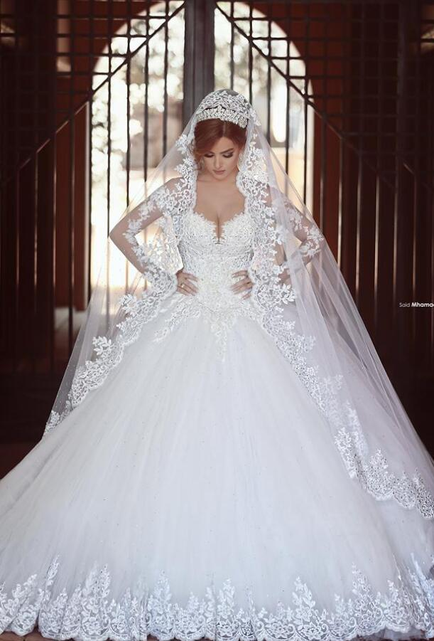 Princess Sweetheart Wedding Gowns,Long Sleeves Wedding Dress, White ...