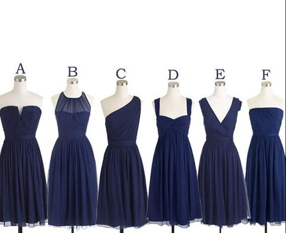 Navy Blue Bridesmaid Dress,Cheap Prom Dress, Short Bridesmaid Dresses , Cheap Bridesmaid Dress, Chiffon Bridesmaid Dress Mismatch Maid of Honor Dress Girls Group Dress in Knee Length,Simple Cheap Prom Dress