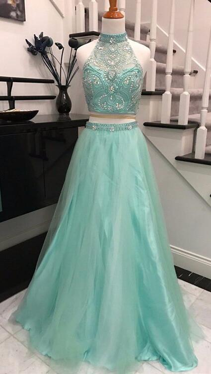Two Pieces Evening Dress,Backless Prom Dresses,Beaded Prom Dress,Two Pieces Prom Dress,High-neck Prom Dresses,Long Prom Gown,Long Party Dress