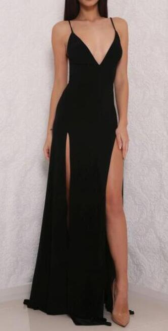 Open Back Prom Dress with Side Slit,Sexy Prom Dresses,Cheap Prom Dress,Black Prom Dresses,V neck Prom Dress,Woman Formal Dresses,Long Party Dress,Simple Prom Dresses