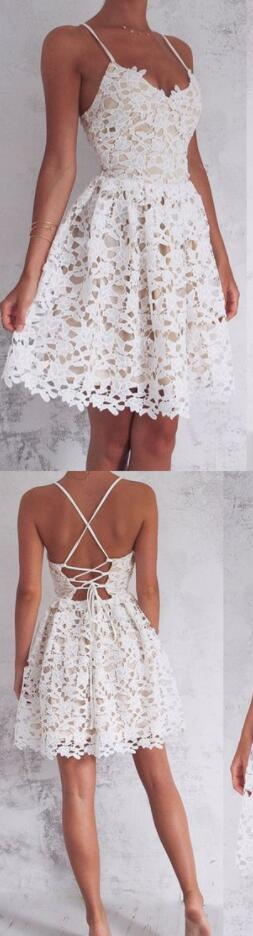 Spaghetti Straps Lace Homecoming Dresses,White Homecoming Dresses,Cheap Homecoming Dress,Short Homecoming Dresses,Homecoming Dresses 2018
