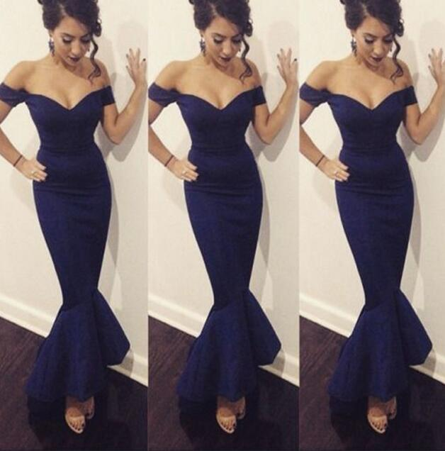 Navy Blue Prom Dress,Sexy Prom Dress,Backless Evening Dress,Sexy Off Shoulder Prom Dress,Mermaid Formal Dress,Long Prom Dresses