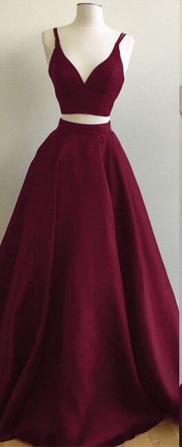 Burgundy Prom Dress,Simple Prom Dress,Cheap Prom Dress,Two-Piece Prom Dresses Straps Sleeveless Puffy A-line Evening Gowns