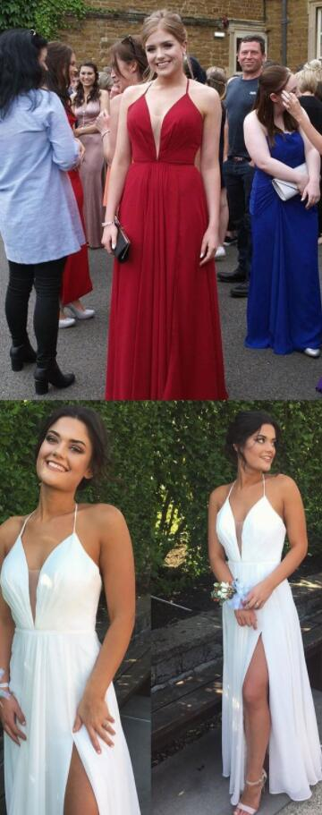 Simple Prom Dress, V neck prom Dress,Chiffon prom Dress,Red Prom Dresses,Prom Dress,Fashion Prom Dress,Sexy Party Dress, New Style Evening Dress