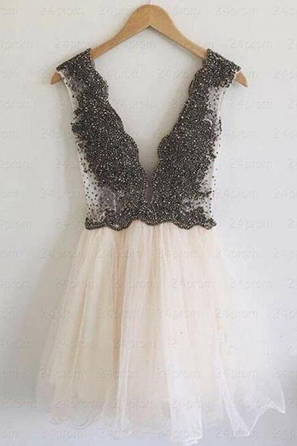 Short Prom Gown,V Neck Prom Gown,Sexy Prom Dress,Short Prom Dress,Party Dress,Beaded Homecoming Dress
