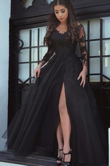 Black Long Sleeves lace Prom Dress,Long Evening Dress, A-Line Appliques V-Neck Court Train Evening Dress