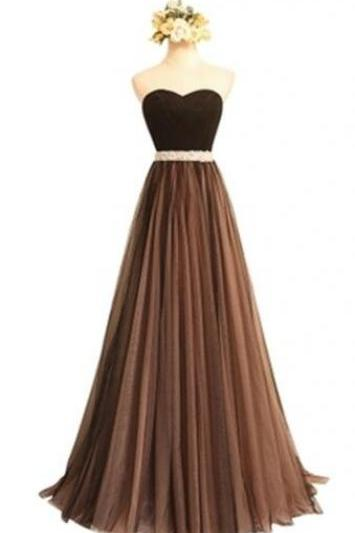 Ruched Sweetheart Long Prom Dress,Brown Beading Prom Dress,Cheap Prom Dress,Simple Prom Gown