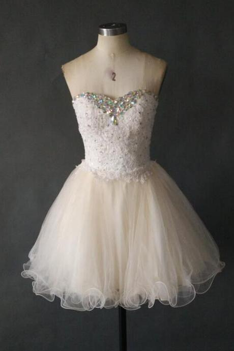 Lovely Cheap prom Dress,Lace Homecoming Dress,Short Tulle Homecoming Dress, Party Dress, Cocktail Dress