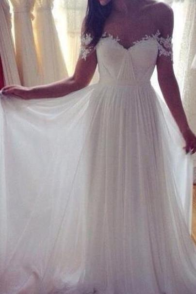 Lace Wedding Dress, Elegant Off Shoulder White Wedding Dress,Long Prom Dresses,Sweep Train Prom Dress