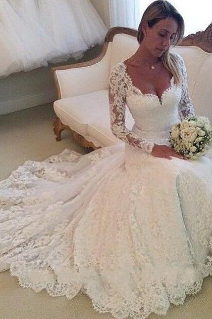 Long Sleeve Mermaid Lace Wedding Dress Sheer Back, White/Ivory Lace Wedding Dresses,Lace Wedding Dress, Wedding Dress 2018, Wedding Dress