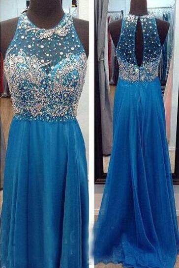 Blue Beaded Embellished Crew Neck Halter Floor Length Formal Dress Featuring Keyhole Back
