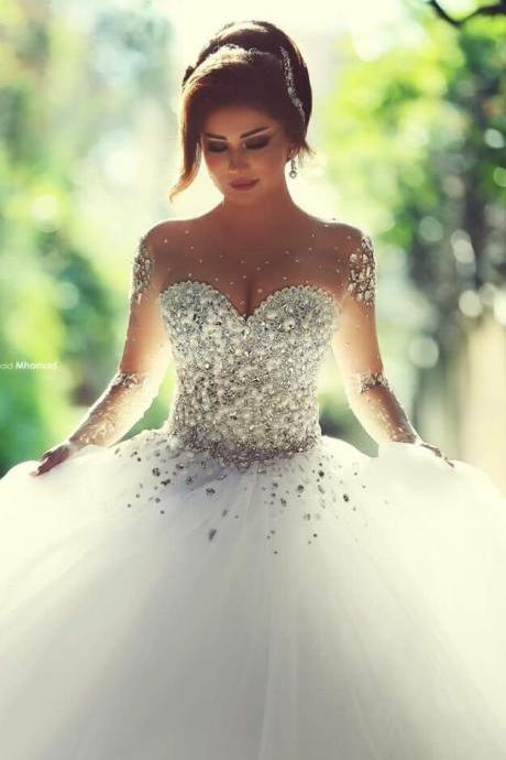 princess Wedding Dresses,Cheap Wedding Dress,Long Sleeve Wedding Dress Sheer Back, Lace Wedding Dress, Wedding Dress Beading, Wedding Dress
