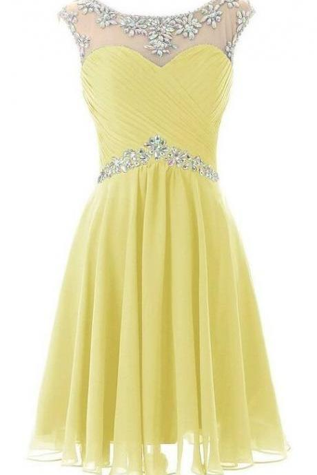 Beading Homecoming Dresses, Short/Mini Prom Dresses,yellow Homecoming Dresses,Evening Dress, royal blue Homecoming Dress