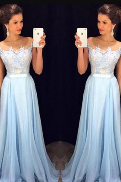 Lace Sexy Prom Dress, Blue Prom Dress,Long Prom Dress, prom Dress, Formal Prom Dress ,Chiffon Prom Dress, Cheap Prom Dress