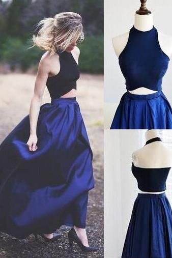 New Arrival navy blue Floor-Length Prom Dresses,Sweet 16 dresses,Graduation Gowns,2 pieces prom Dresses