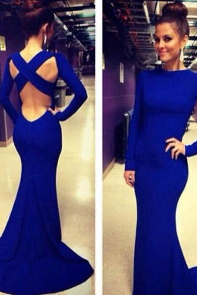 Long Royal Blue Prom Dress, Prom Dresses, Simple Prom Dress, Sexy Prom Dress,Long Sleeve Prom Dress