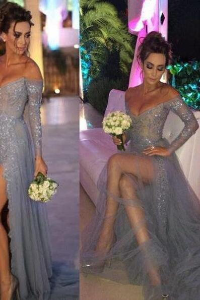 Sexy Long sleeve prom dress,Beading Prom Gown,A-line sequins long formal dress,evening dresses