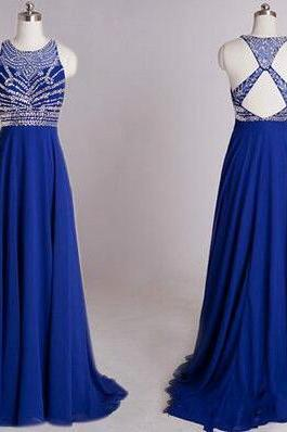 Royal blue Prom Dress, chiffon long prom dress,Sexy open back beaded evening dress,formal dress for teens