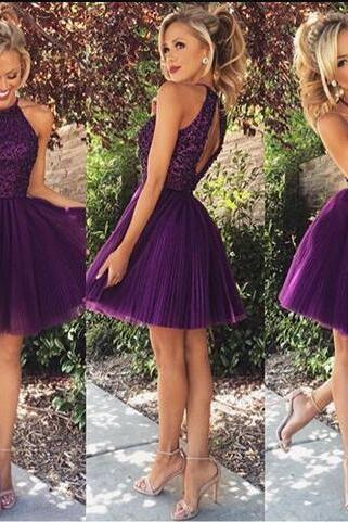 Cute purple homecoming Dress,tulle A-Line short prom dresses,Short homecoming dresses,ball gowns