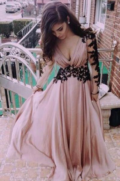 A-Line Chiffon Prom Dress.Cheap sweetheart lace long prom dress, long sleeve prom dress, evening dress,graduation dress