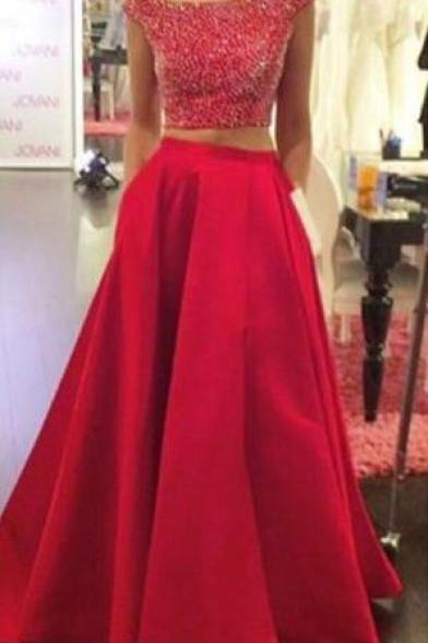 Two pieces long prom dress,Pretty red beaded backless party dress,Long evening dresses,Stain Prom Dress
