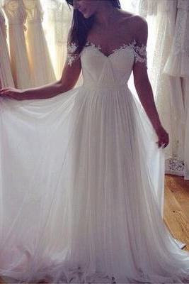Sweetheart Wedding Dress,white chiffon long Wedding dress,A-line lace long prom dress,Formal Dress,Evening Dress