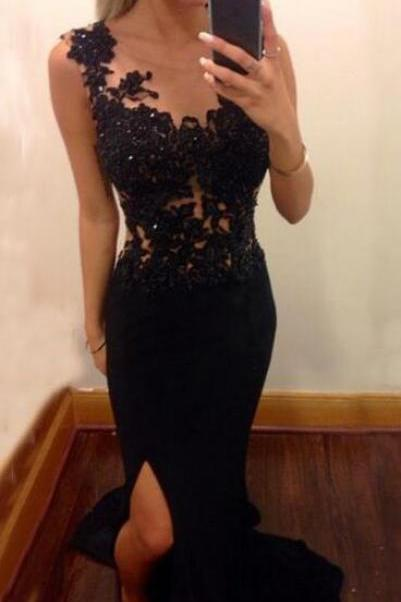 black lace sleeveless floor length prom dress,formal dress,Sexy side slit prom dresses ,Long prom dress