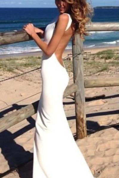 Simple White Ivory Prom Dress,Mermaid Prom Dress,Backless Prom Dresses,Sexy Evening Gowns, Open Back Long Sleeves Dress For Teens