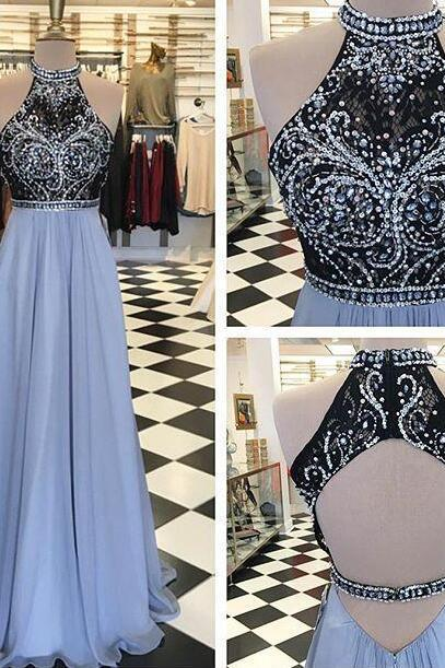Long Chiffon Prom Dress, Sexy Beading Prom Dress with Open Back, Prom Dress 2018, A Line Prom Dress, Long Evening Dresses, Prom Dress