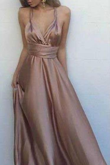Chiffon Cheap Prom Dress,Sexy Prom Dress, V Neck Maxi Dress, Satin Prom Dress,Simple Sleeveless Prom Dresses,Long Evening Dress, Sexy Back Party Dresses, Prom Dress