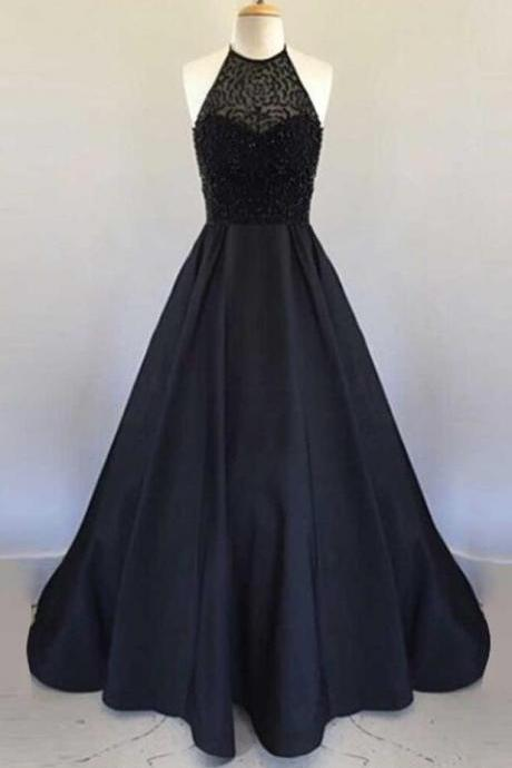 Sexy prom Dress,Beading Prom Dress,Elegant Prom Dress, Black Prom Gown,Long Prom dresses 2018,A Line Prom dresses,Beading Prom dresses, Prom Dress