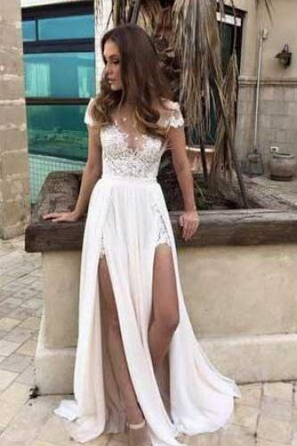 Lace prom Dress,Elegant Prom Dress,Sexy White Prom Dress,Cheap Prom Dress,Chiffon Prom Dress,Short Sleeves Prom Dresses, White Evening Dress, Prom Dress
