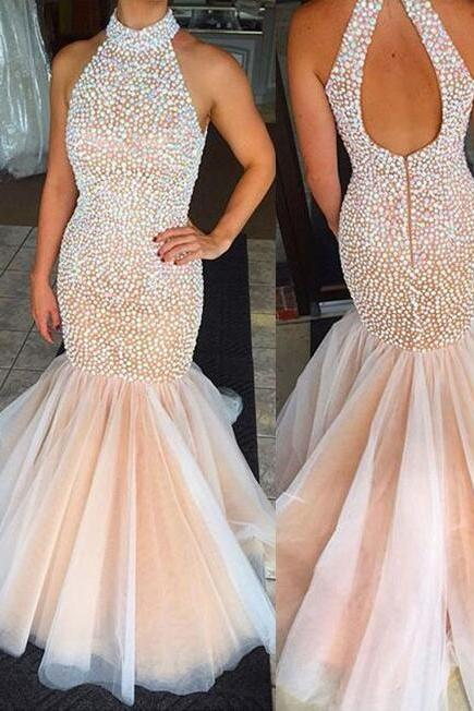 Beading Prom Dress, Mermaid Prom Dresses, Tulle prom Dress,Open-back Evening Dress, 2018 Prom Dress, Long Party Dresses, Charming prom dress, prom dress