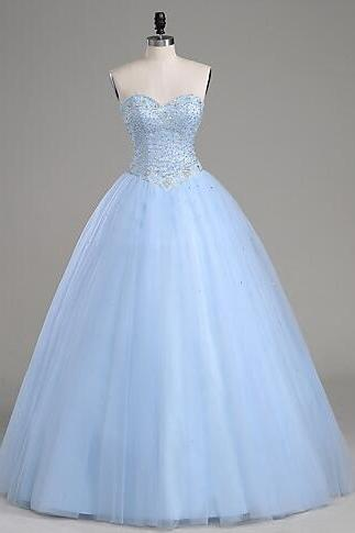 Ball Gown Prom Dresses,Cheap Light Blue Prom Dresses,Tulle prom Dress, Sweetheart Prom Gown, Beading Evening Dresses, Tulle Formal Dresses, Prom Dress