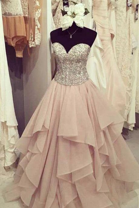 Beading Prom Dress, Chiffon Sweetheart Prom Dresses, Tiered Prom Dress, Cute Party Dresses, Long Formal Dresses, Prom Dress