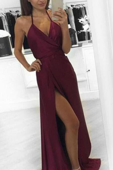 Burgundy Prom Dress,Simple Prom Dress,Cheap Prom Dress,2018 Long Prom Dress,Sexy Evening Dress,Simple Prom Gowns, Prom Dress