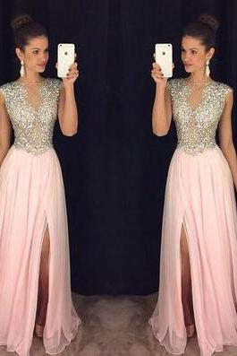 Chiffon Prom Dress,Cheap Blush Pink Prom Dresses, Beading Prom Dress, A Line Prom Gown, Formal Evening Dresses, Long Party Dresses, Prom Dress