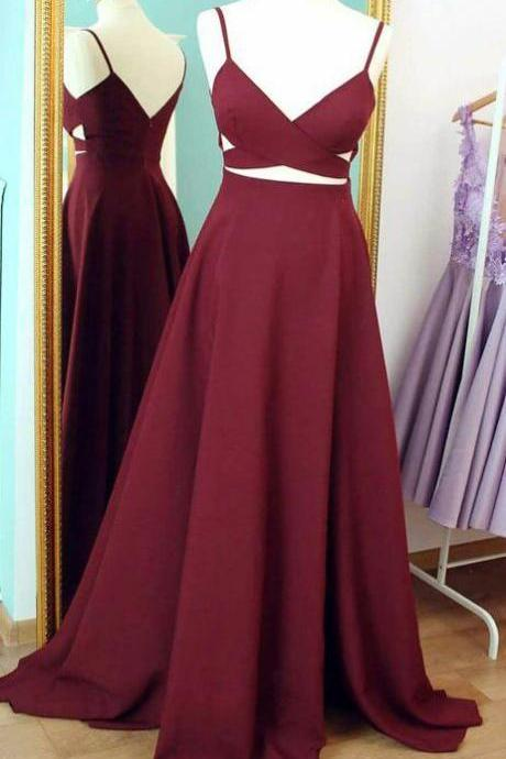 Straps Prom Dresses, Cheap Prom Dress,Burgundy Prom Dress, Long Evening Dress, Simple Formal Dresses