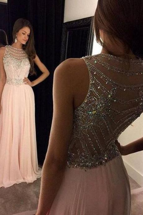 Dusty Pink Prom Dress, Blush Pink Prom Dress, Sexy Prom Dress, A Line Prom Dresses, Beading Evening Dresses with Crystals, Long Party Dresses