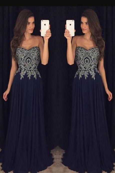 Navy Blue Prom Dress, Cheap Prom Dress, Sweetheart Prom Dresses, A Line Prom Gown, Beading Evening Dresses,Chiffon Party Dresses, Prom Dress